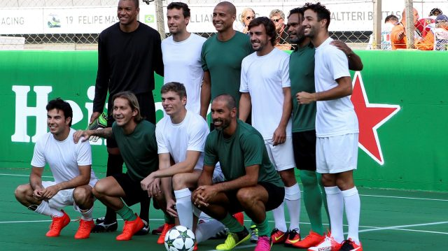 Group photo at the Heineken Champions Of The Grid 5-A-Side Charity Football Match at Formula One World Championship, Rd14, Italian Grand Prix, Preparations, Monza, Italy, Thursday 1 September 2016. &copy&#x3b; Sutton Images