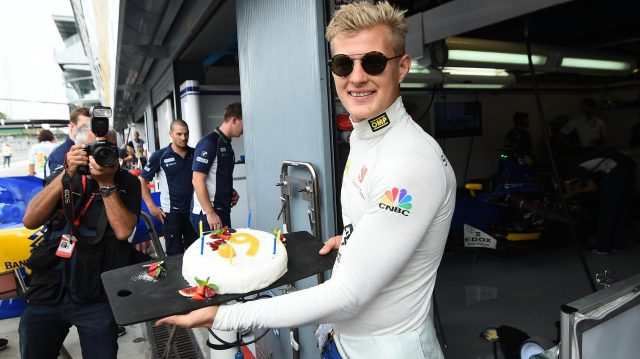 Marcus Ericsson (SWE) Sauber celebrates his Birthday with Monisha Kaltenborn (AUT) Sauber Team Prinicpal and a cake at Formula One World Championship, Rd14, Italian Grand Prix, Practice, Monza, Italy, Friday 2 September 2016. &copy&#x3b; Sutton Images