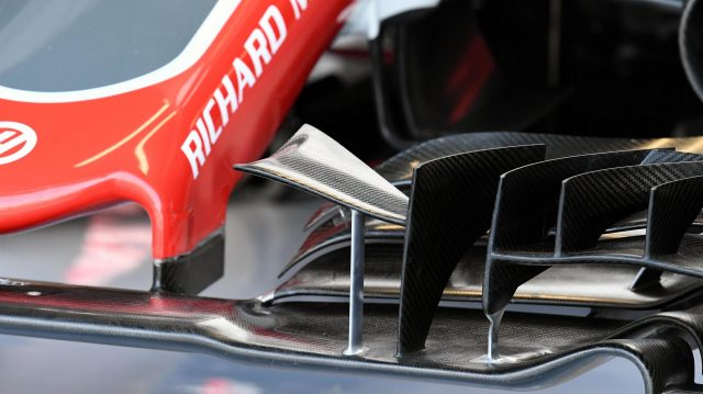 Haas VF-16 front wing detail at Formula One World Championship, Rd14, Italian Grand Prix, Practice, Monza, Italy, Friday 2 September 2016. &copy&#x3b; Sutton Images