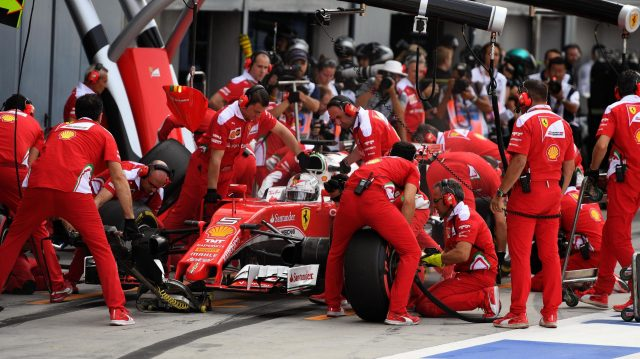 Sebastian Vettel (GER) Ferrari SF16-H pit stop at Formula One World Championship, Rd14, Italian Grand Prix, Qualifying, Monza, Italy, Saturday 3 September 2016. &copy&#x3b; Sutton Images
