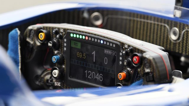 Sauber C35 steering wheel detail at Formula One World Championship, Rd14, Italian Grand Prix, Qualifying, Monza, Italy, Saturday 3 September 2016. &copy&#x3b; Sutton Images