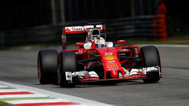 Sebastian Vettel (GER) Ferrari SF16-H waves to the fans at Formula One World Championship, Rd14, Italian Grand Prix, Qualifying, Monza, Italy, Saturday 3 September 2016. &copy&#x3b; Sutton Images