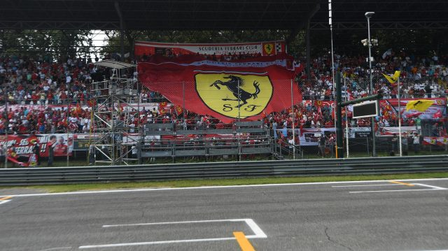 Ferrari tifosi fans in the grandstand with flags at Formula One World Championship, Rd14, Italian Grand Prix, Qualifying, Monza, Italy, Saturday 3 September 2016. &copy&#x3b; Sutton Images