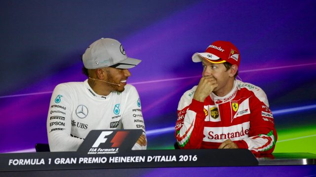 Pole sitter Lewis Hamilton (GBR) Mercedes AMG F1 and Sebastian Vettel (GER) Ferrari in the Press Conference at Formula One World Championship, Rd14, Italian Grand Prix, Qualifying, Monza, Italy, Saturday 3 September 2016. &copy&#x3b; Sutton Images