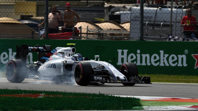 Valtteri Bottas (FIN) Williams FW38 locks up at Formula One World Championship, Rd14, Italian Grand Prix, Qualifying, Monza, Italy, Saturday 3 September 2016. &copy&#x3b; Sutton Images