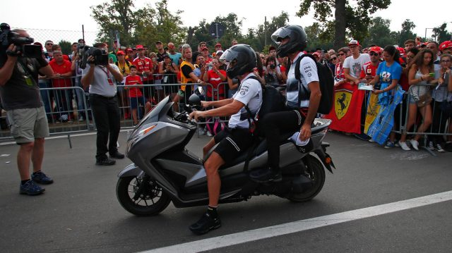 Fernando Alonso (ESP) McLaren on a scooter at Formula One World Championship, Rd14, Italian Grand Prix, Race, Monza, Italy, Sunday 4 September 2016. &copy&#x3b; Sutton Images