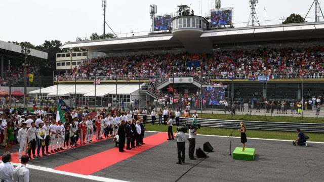 National Anthem is observed on the grid at Formula One World Championship, Rd14, Italian Grand Prix, Race, Monza, Italy, Sunday 4 September 2016. &copy&#x3b; Sutton Images
