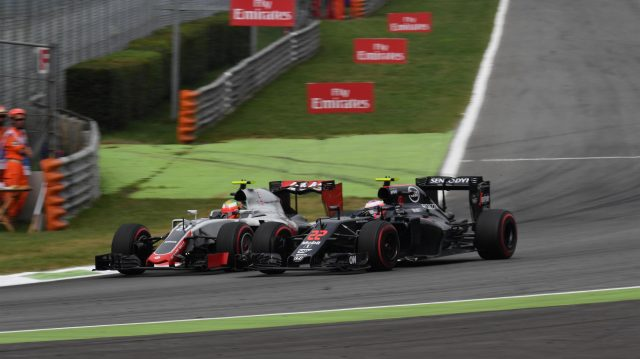 Esteban Gutierrez (MEX) Haas VF-16 and Jenson Button (GBR) McLaren MP4-31 battle at Formula One World Championship, Rd14, Italian Grand Prix, Race, Monza, Italy, Sunday 4 September 2016. &copy&#x3b; Sutton Images