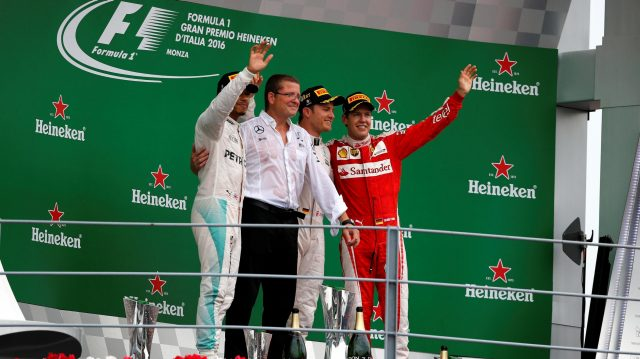 Lewis Hamilton (GBR) Mercedes AMG F1, Simon Cole (GBR) Mercedes AMG F1 Chief Track Engineer, Race winner Nico Rosberg (GER) Mercedes AMG F1 and Sebastian Vettel (GER) Ferrari celebrate on the podium at Formula One World Championship, Rd14, Italian Grand Prix, Race, Monza, Italy, Sunday 4 September 2016. &copy&#x3b; Sutton Images