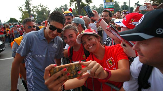 Esteban Ocon (FRA) Manor Racing fans selfie at Formula One World Championship, Rd14, Italian Grand Prix, Race, Monza, Italy, Sunday 4 September 2016. &copy&#x3b; Sutton Images