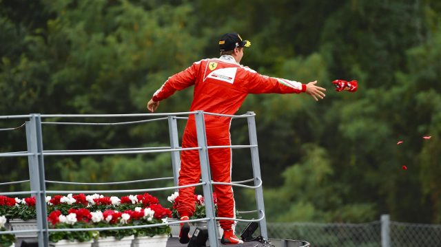 Sebastian Vettel (GER) Ferrari celebrates on the podium and throws his cap at Formula One World Championship, Rd14, Italian Grand Prix, Race, Monza, Italy, Sunday 4 September 2016. &copy&#x3b; Sutton Images
