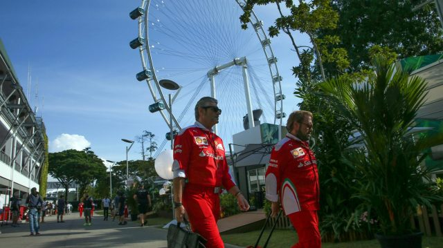 Maurizio Arrivabene (ITA) Ferrari Team Principal and Gino Rosato (CDN) Ferrari at Formula One World Championship, Rd15, Singapore Grand Prix, Preparations, Marina Bay Street Circuit, Singapore, Thursday 15 September 2016. &copy&#x3b; Sutton Images