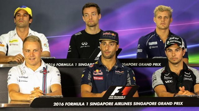 (L to R): Felipe Nasr (BRA) Sauber, Jolyon Palmer (GBR) Renault Sport F1 Team, Marcus Ericsson (SWE) Sauber, Valtteri Bottas (FIN) Williams, Daniel Ricciardo (AUS) Red Bull Racing and Sergio Perez (MEX) Force India in the Press Conference at Formula One World Championship, Rd15, Singapore Grand Prix, Preparations, Marina Bay Street Circuit, Singapore, Thursday 15 September 2016. &copy&#x3b; Sutton Images