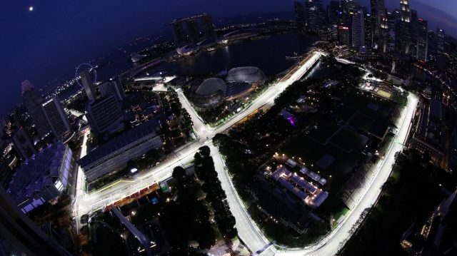 The Marina Bay Street Circuit as viewed from Swissotel The Stamford level 65 at Formula One World Championship, Rd15, Singapore Grand Prix, Preparations, Marina Bay Street Circuit, Singapore, Thursday 15 September 2016. &copy&#x3b; Sutton Images