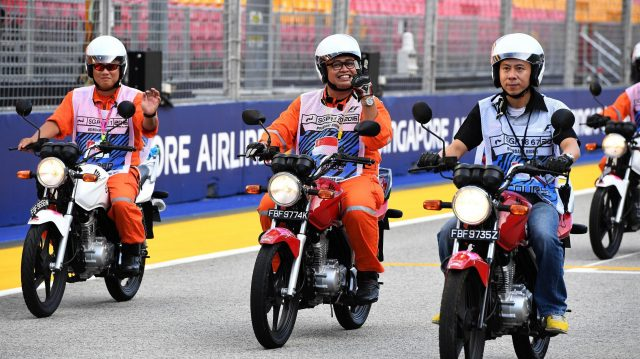 Marshals on motorbikes at Formula One World Championship, Rd15, Singapore Grand Prix, Preparations, Marina Bay Street Circuit, Singapore, Thursday 15 September 2016. &copy&#x3b; Sutton Images