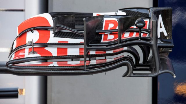 Scuderia Toro Rosso STR11 front wing detail at Formula One World Championship, Rd15, Singapore Grand Prix, Preparations, Marina Bay Street Circuit, Singapore, Thursday 15 September 2016. &copy&#x3b; Sutton Images