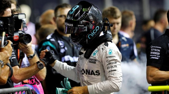 Pole sitter Nico Rosberg (GER) Mercedes AMG F1 celebrates in parc ferme at Formula One World Championship, Rd15, Singapore Grand Prix, Qualifying, Marina Bay Street Circuit, Singapore, Saturday 17 September 2016. &copy&#x3b; Sutton Images