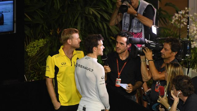Jolyon Palmer (GBR) Renault Sport F1 Team talks with the media at Formula One World Championship, Rd15, Singapore Grand Prix, Qualifying, Marina Bay Street Circuit, Singapore, Saturday 17 September 2016. &copy&#x3b; Sutton Images