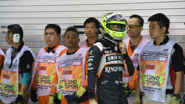 Sergio Perez (MEX) Force India in parc ferme at Formula One World Championship, Rd15, Singapore Grand Prix, Qualifying, Marina Bay Street Circuit, Singapore, Saturday 17 September 2016. &copy&#x3b; Sutton Images
