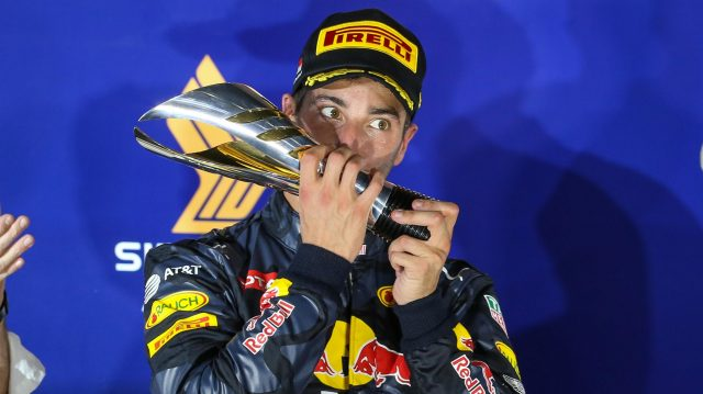 Daniel Ricciardo (AUS) Red Bull Racing celebrates on the podium with the trophy at Formula One World Championship, Rd15, Singapore Grand Prix, Race, Marina Bay Street Circuit, Singapore, Sunday 18 September 2016. &copy&#x3b; Sutton Images