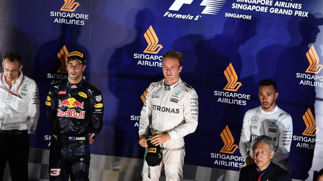Daniel Ricciardo (AUS) Red Bull Racing, Nico Rosberg (GER) Mercedes AMG F1 and Lewis Hamilton (GBR) Mercedes AMG F1 on the podium at Formula One World Championship, Rd15, Singapore Grand Prix, Race, Marina Bay Street Circuit, Singapore, Sunday 18 September 2016. &copy&#x3b; Sutton Images