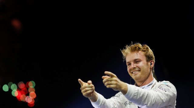 Race winner Nico Rosberg (GER) Mercedes AMG F1 celebrates in parc ferme at Formula One World Championship, Rd15, Singapore Grand Prix, Race, Marina Bay Street Circuit, Singapore, Sunday 18 September 2016. &copy&#x3b; Sutton Images