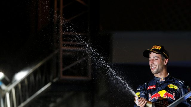Daniel Ricciardo (AUS) Red Bull Racing celebrates with the champagne on the podium at Formula One World Championship, Rd15, Singapore Grand Prix, Race, Marina Bay Street Circuit, Singapore, Sunday 18 September 2016. &copy&#x3b; Sutton Images