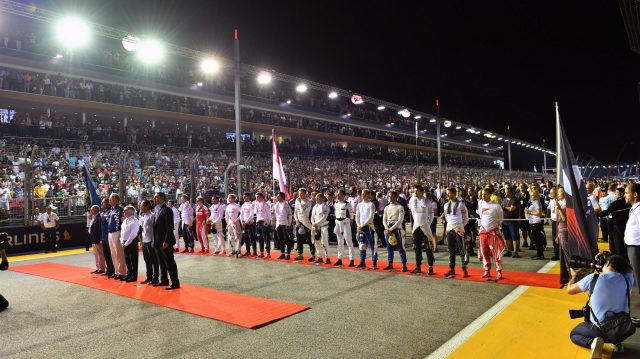 National Anthem is observed on the grid at Formula One World Championship, Rd15, Singapore Grand Prix, Race, Marina Bay Street Circuit, Singapore, Sunday 18 September 2016. &copy&#x3b; Sutton Images