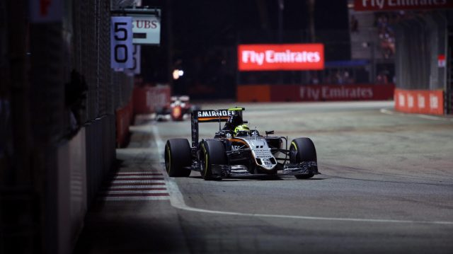 Sergio Perez (MEX) Force India VJM09 at Formula One World Championship, Rd15, Singapore Grand Prix, Race, Marina Bay Street Circuit, Singapore, Sunday 18 September 2016. &copy&#x3b; Sutton Images