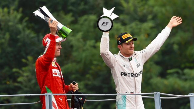 Nico Rosberg became the 36th different Monza winner, while Sebastian Vettel scored Ferrari's 66th Monza podium in the 66th race at the fabled 'Temple of Speed'. &copy&#x3b; Sutton Images