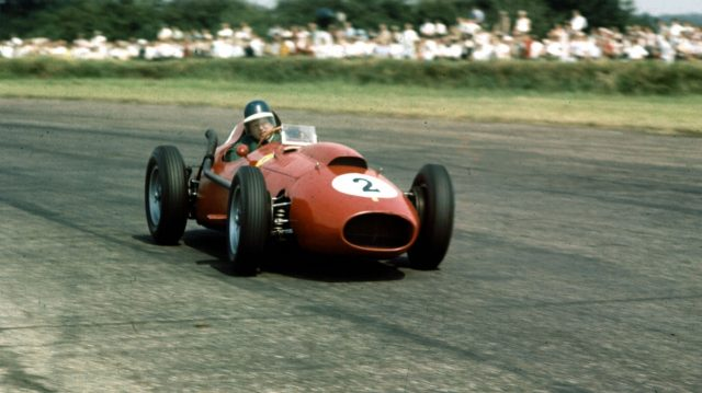 Mike Hawthorn (Ferrari Dino 246) in action in the 1958 British Grand Prix, Silverstone. World copyright: LAT Photographic