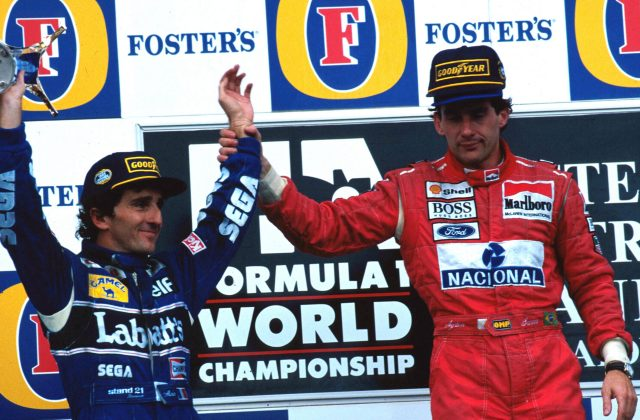 Race winner Ayrton Senna (BRA) McLaren (right) acknowledges second place finisher and World Champion Alain Prost (FRA) Williams (left) in his final race before retirement. &copy&#x3b; Sutton Motorsport Images