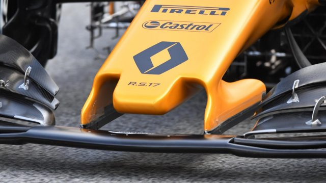 Renault Sport F1 Team RS17 nose detail at Formula One Testing, Day One, Barcelona, Spain, 27 February 2017. &copy&#x3b; Sutton Images