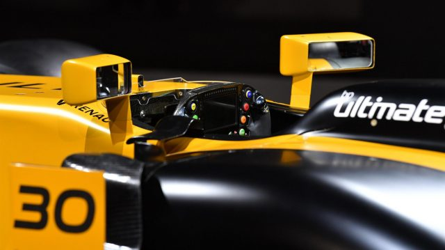 The new Renault Sport F1 Team RS17 steering wheel detail at Renault Sport F1 Team RS17 Reveal, The Lindley Hall, London, England, 21 February 2017. &copy&#x3b; Sutton Images