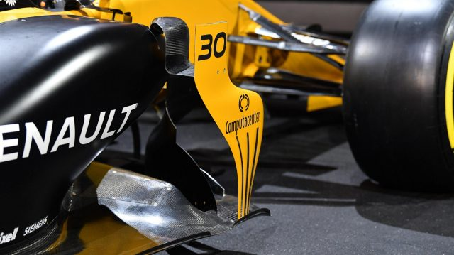The new Renault Sport F1 Team RS17 sidepod detail at Renault Sport F1 Team RS17 Reveal, The Lindley Hall, London, England, 21 February 2017. &copy&#x3b; Sutton Images