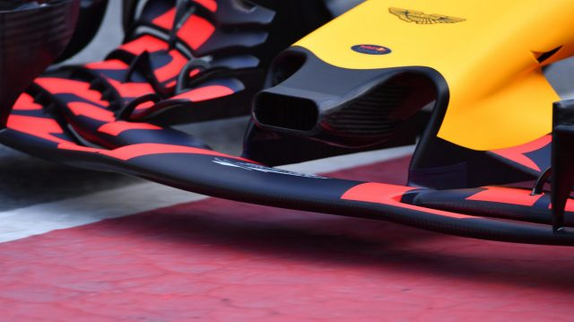 Daniel Ricciardo (AUS) Red Bull Racing RB13 nose and front wing detail at Formula One Testing, Day One, Barcelona, Spain, 27 February 2017. &copy&#x3b; Sutton Images