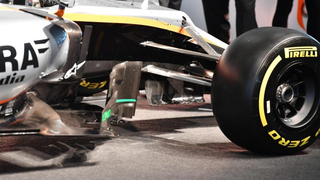 Force India VJM10 front suspension at Force India VJM10 Launch, Silverstone, England, 22 February 2017. &copy&#x3b; Sutton Images