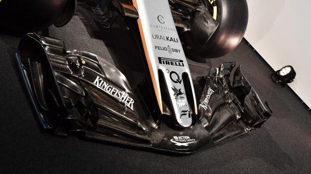Force India VJM10 nose and front wing at Force India VJM10 Launch, Silverstone, England, 22 February 2017. &copy&#x3b; Sutton Images