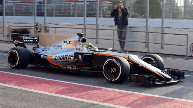 Sergio Perez (MEX) Force India VJM10 at Formula One Testing, Day One, Barcelona, Spain, 27 February 2017. &copy&#x3b; Sutton Images
