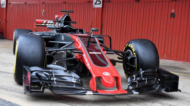 The new Haas VF-17 at Haas VF-17 Launch, Barcelona, Spain, 27 February 2017. &copy&#x3b; Sutton Images