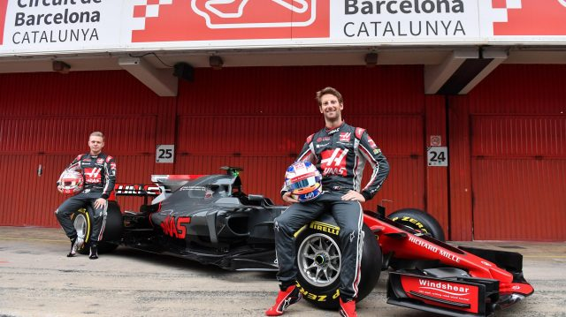 Kevin Magnussen (DEN) Haas F1 and Romain Grosjean (FRA) Haas F1 with the new Haas VF-17 at Haas VF-17 Launch, Barcelona, Spain, 27 February 2017. &copy&#x3b; Sutton Images