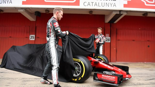 Kevin Magnussen (DEN) Haas F1 and Romain Grosjean (FRA) Haas F1 unveil the new Haas VF-17 at Haas VF-17 Launch, Barcelona, Spain, 27 February 2017. &copy&#x3b; Sutton Images