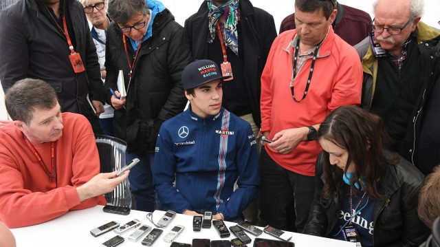 Lance Stroll (CDN) Williams talks with the media at Formula One Testing, Day Two, Barcelona, Spain, 28 February 2017. &copy&#x3b; Sutton Images