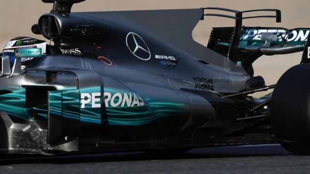 Valtteri Bottas (FIN) Mercedes-Benz F1 W08 Hybrid rear wing detail at Formula One Testing, Day Two, Barcelona, Spain, 28 February 2017. &copy&#x3b; Sutton Images