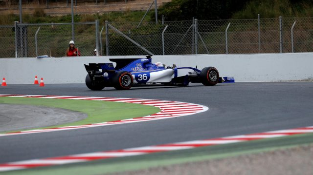 Antonio Giovinazzi (ITA) Sauber C36 spins at Formula One Testing, Day Two, Barcelona, Spain, 28 February 2017. &copy&#x3b; Sutton Images