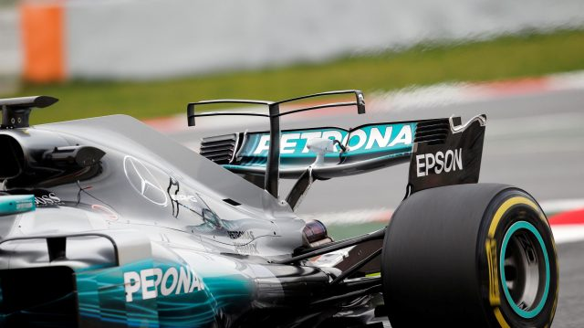Mercedes-Benz F1 W08 Hybrid rear wing at Formula One Testing, Day Two, Barcelona, Spain, 28 February 2017. &copy&#x3b; Sutton Images