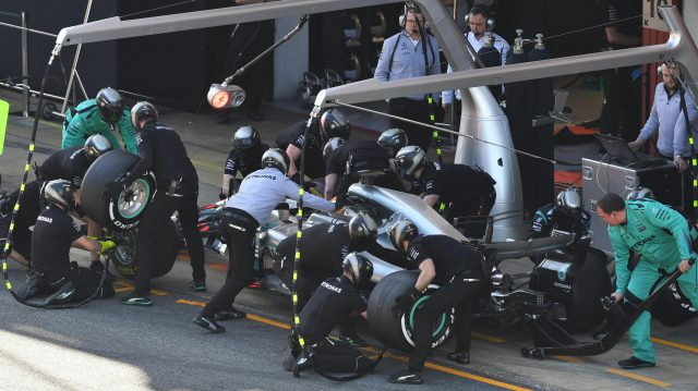 Lewis Hamilton (GBR) Mercedes-Benz F1 W08 Hybrid pit stop at Formula One Testing, Day Three, Barcelona, Spain, 1 March 2017. &copy&#x3b; Sutton Images