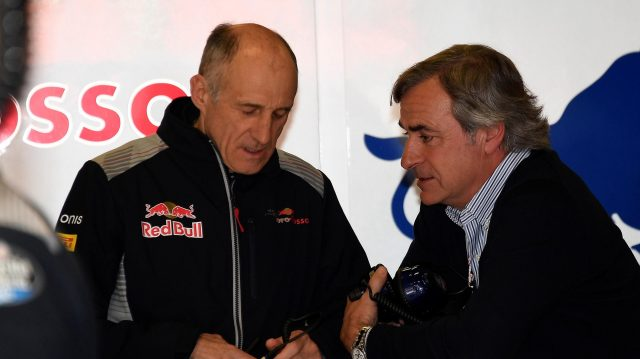 Franz Tost (AUT) Scuderia Toro Rosso Team Principal and Carlos Sainz (ESP) at Formula One Testing, Day Three, Barcelona, Spain, 1 March 2017. &copy&#x3b; Sutton Images