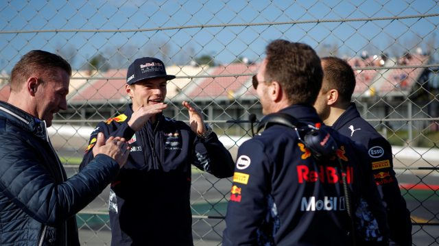 Jos Verstappen (NDL), Max Verstappen (NED) Red Bull Racing, Christian Horner (GBR) Red Bull Racing Team Principal and Gianpiero Lambiase (ITA) Red Bull Racing Race Engineer at Formula One Testing, Day Three, Barcelona, Spain, 1 March 2017. &copy&#x3b; Sutton Images