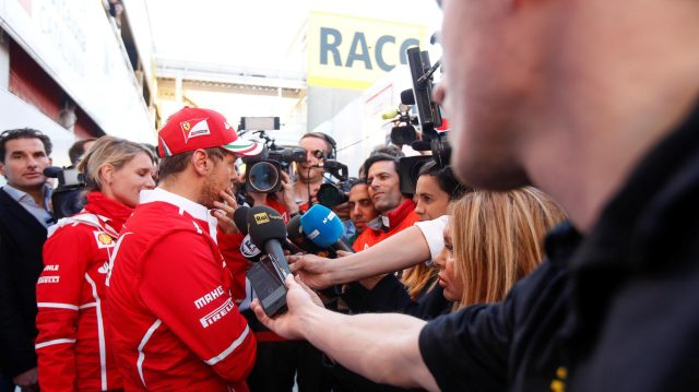 Sebastian Vettel (GER) Ferrari talks with the media at Formula One Testing, Day Three, Barcelona, Spain, 1 March 2017. &copy&#x3b; Sutton Images